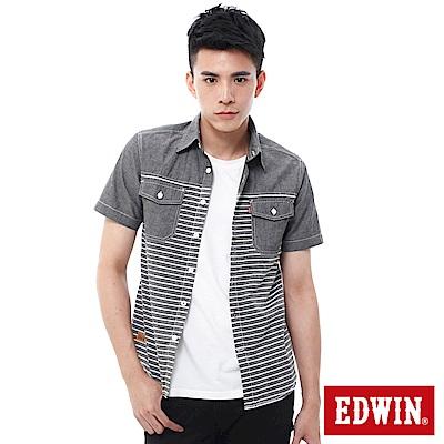 EDWIN  橫條剪接短袖襯衫-男-暗灰