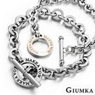 GIUMKA 愛的約定 白鋼情人手鍊-黑玫