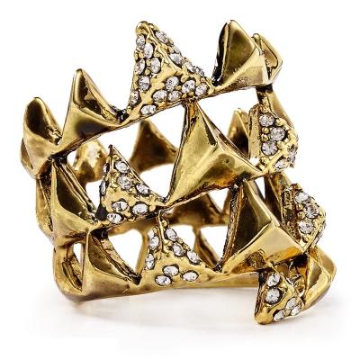 House of Harlow 1960 水晶飾邊立體金字塔 多層寬版金色戒指