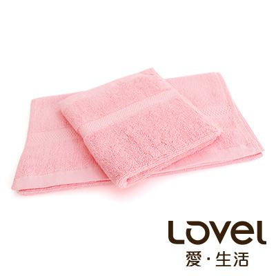 LOVEL 嚴選六星級飯店(毛巾+方巾)超值雙件組合(玫粉)