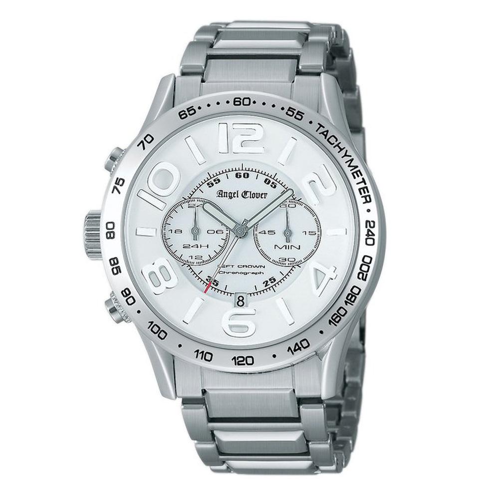 Angel Clover LEFT CROWN 城市藝術計時鋼帶腕錶-白/42mm