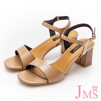 JMS-復古簡約一字環裸方跟涼鞋-棕色