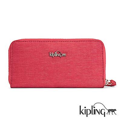 Kipling 長夾 紋路質感蘋果紅-小
