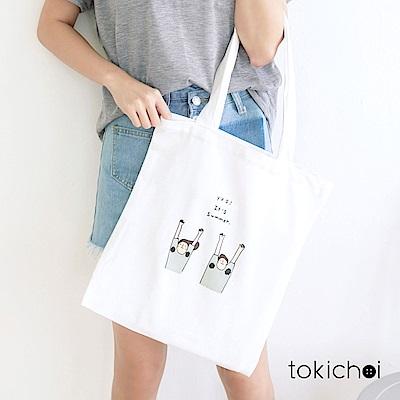 東京著衣 夏天來了印花帆布包(共一色)