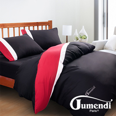 Jumendi-水鑽之星.黑 台灣製防蹣抗菌被套床包組-雙人