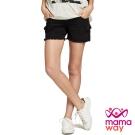 孕婦褲 短褲 孕期水洗大口袋鬚邊短褲(共二色) Mamaway