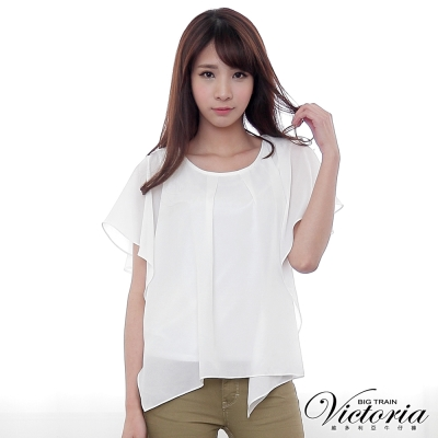 Victoria 素面雪紡變化T-女-白色