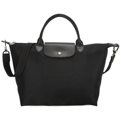 Longchamp Le Pliage Neo 短把中型水餃兩用包-黑色