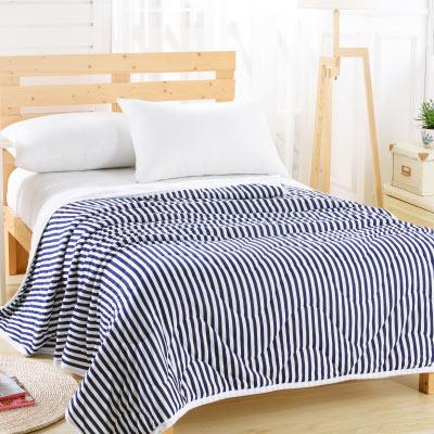 Saint Rose 簡約美學-深藍 純棉針織舒適親膚四季涼被一入