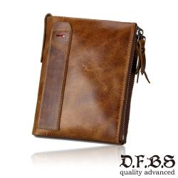 DF BAGSCHOOL皮夾 - 瘋馬牛復古手感皮革雙拉鍊短夾-共3色
