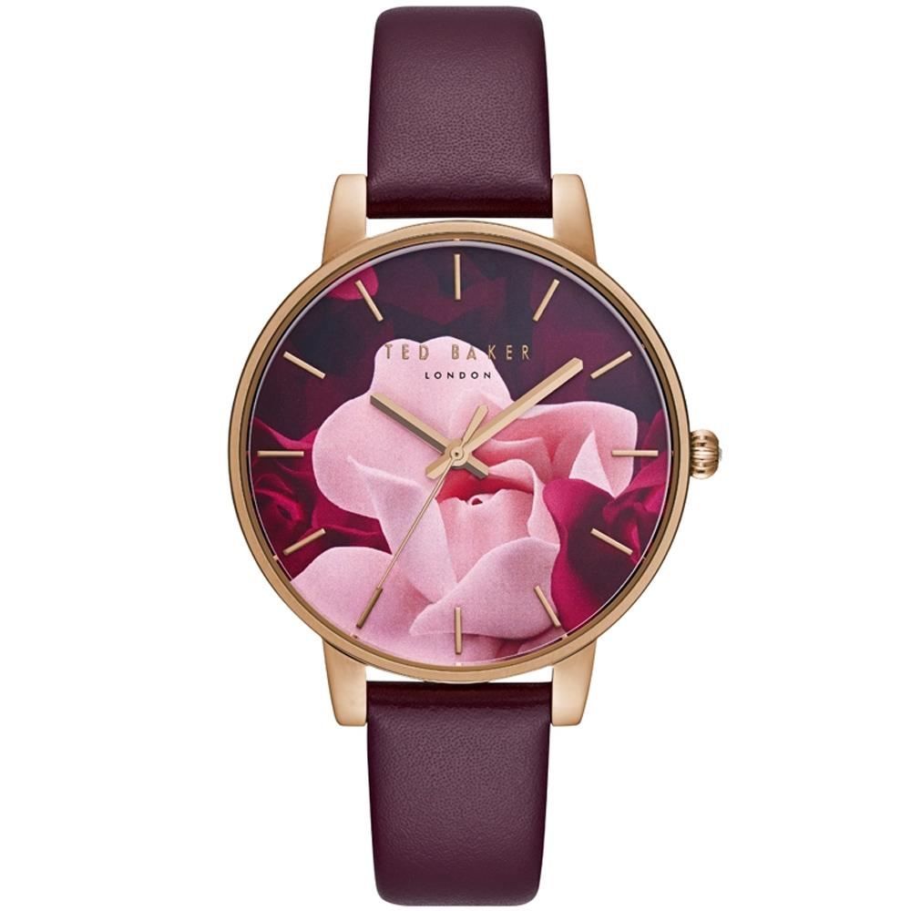 Ted Baker 魅力女伶花漾皮革手錶-玫瑰金框X酒紅/38mm