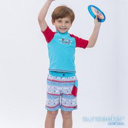 澳洲Sunseeker泳裝抗UV防曬短袖泳衣+泳褲-小男童兩件式泳衣組/帆船