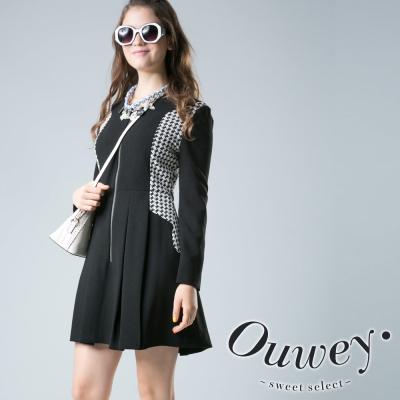 OUWEY歐薇-千鳥格長袖洋裝