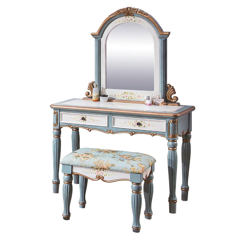 AS-Marcie3.5尺湖水綠化妝桌椅組-105x45x165cm
