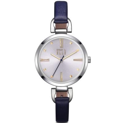 ELLE 小清新羅馬時標皮革腕錶-深藍/銀色-32mm