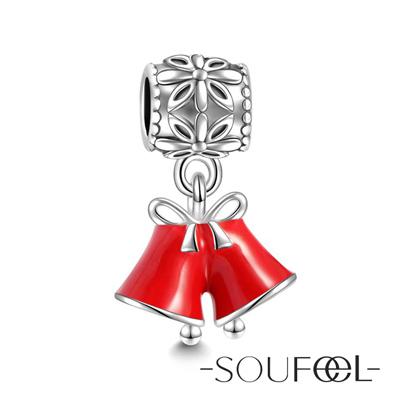 SOUFEEL索菲爾 925純銀珠飾 聖誕鈴 吊飾