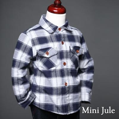 Mini Jule 童裝-襯衫 搖粒絨大格紋雙口袋棉質襯衫(寶藍)