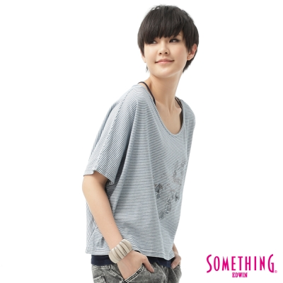 SOMETHING T恤 花卉細條2件式T恤-女-漂淺藍