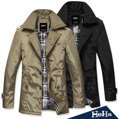 外套 英倫氣質型男舖棉風衣外套 二色-HeHa