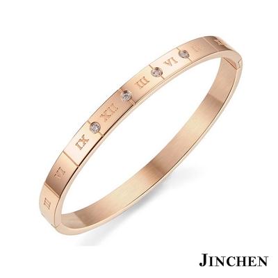 JINCHEN-白鋼羅馬數字-情侶手環