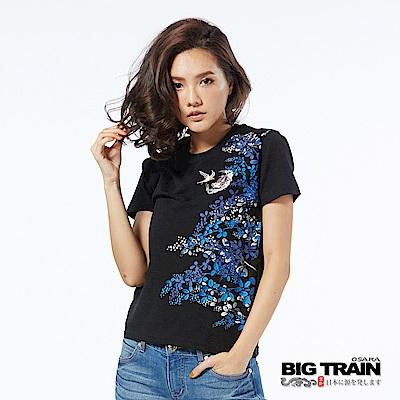 BIG TRAIN 萩草飛燕圓領短袖-女-黑色