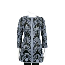 Caban Romantic 雕花皮革拼接蕾絲長版外套(藍黑色/附白色字母T恤)