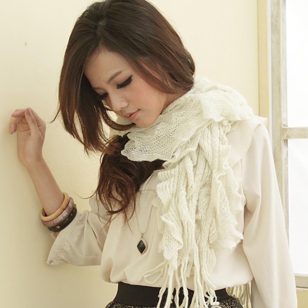 【I-shi】暖呼呼~波浪疊層厚款圍巾(米色)