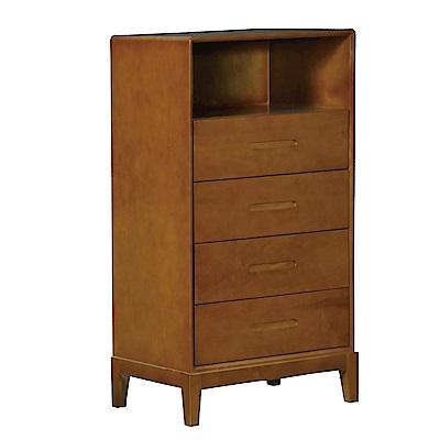 品家居 派翠西2.4尺柚木紋實木四斗櫃-73x45x118cm免組