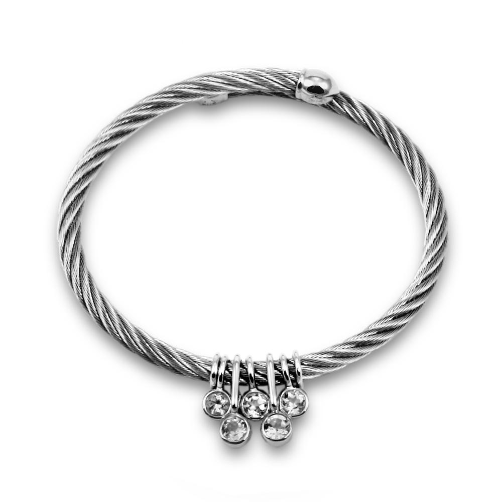 CHARRIOL 夏利豪SUGAR系列經典徹爾斯鋼索5石手環