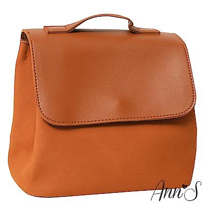 Ann'S簡單美好-異材質拼接素面2way後背包-棕