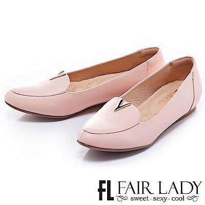 Fair Lady 紳士風V字平底鞋 粉