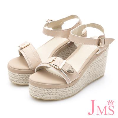 JMS-金屬扣飾一字帶麻底皮滾邊楔型厚底涼鞋-杏色