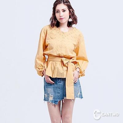 CANTWO刺繡布蕾絲綁帶上衣(共三色) @ Y!購物