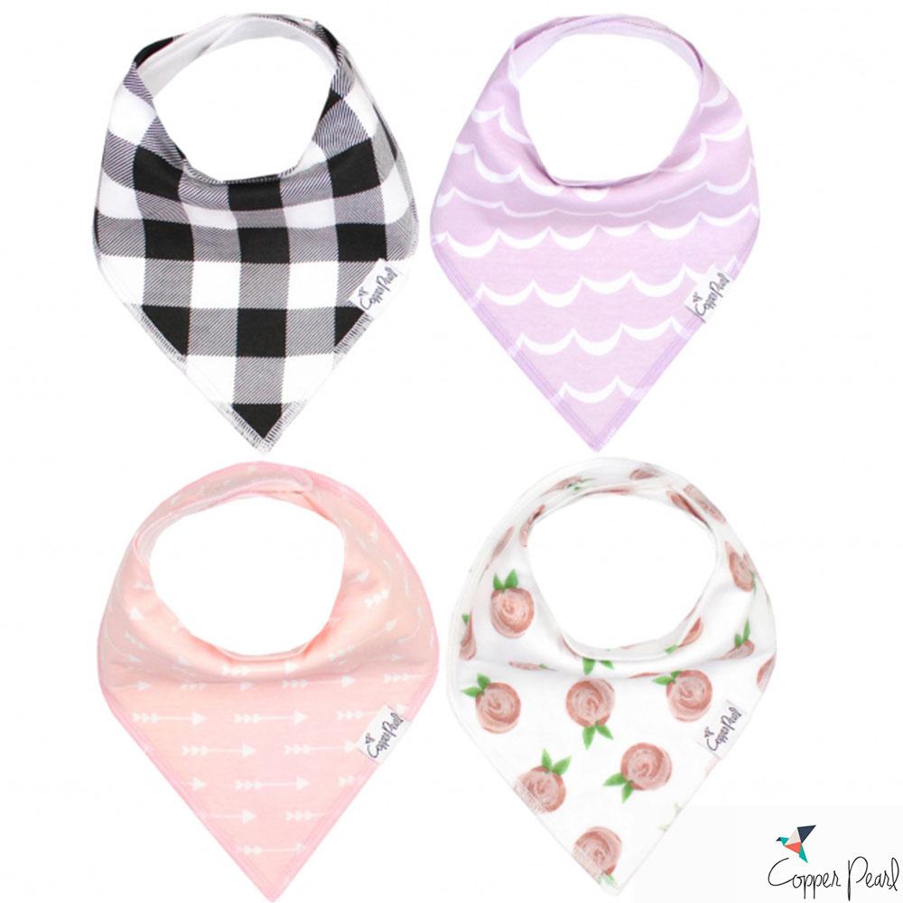 Copper Pearl 美國 玫瑰格紋雙面領巾圍兜口水巾4件組