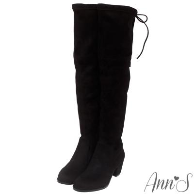 Ann'S纖瘦名模-絨質後蝴蝶結側拉鍊貼腿過膝靴-黑