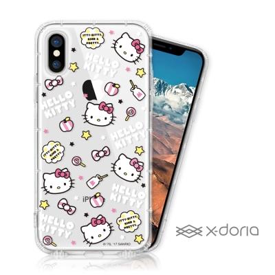 Hello Kitty iPhone X 彩繪空壓手機殼 - 活潑凱蒂