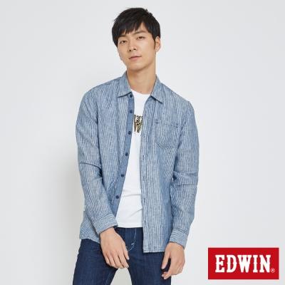 EDWIN 舒適亞麻開襟襯衫-男-藍色
