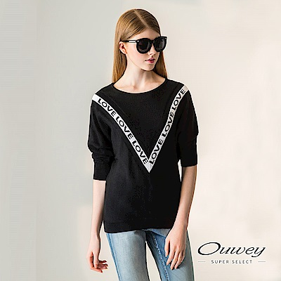 OUWEY歐薇 字母緹織連袖針織上衣(黑)-動態show