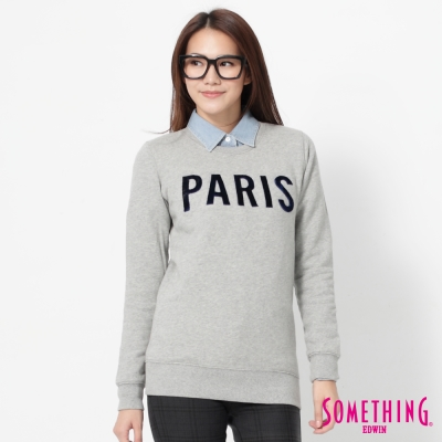 SOMETHING 立體PARIS長袖厚T恤-女-麻灰