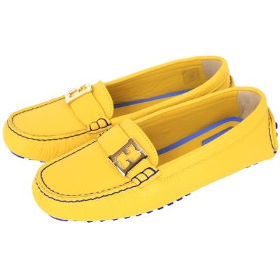FENDI FF LOGO 撞色牛皮休閒鞋(黃色)