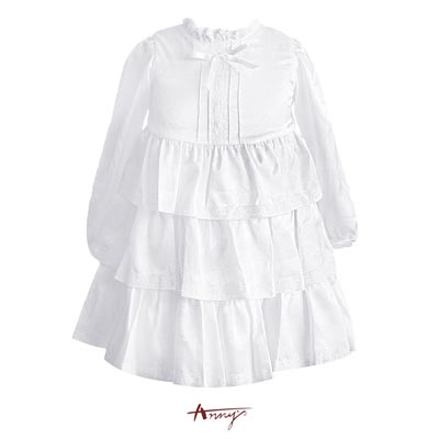 Anny純潔荷葉小高領蕾絲壓邊蛋糕洋裝*9205白