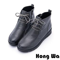 Hong Wa - 素雅時尚綁帶牛皮休閒踝靴 - 灰