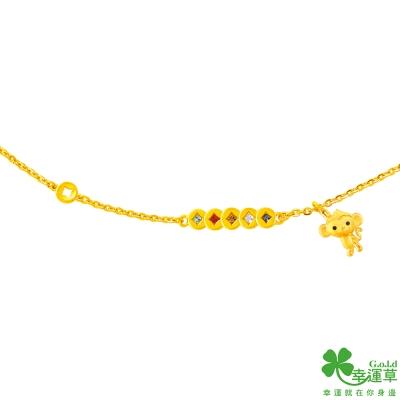 幸運草 五福臨門黃金/水晶彌月手鍊