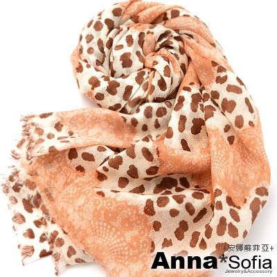 AnnaSofia 豹紋層蕾絲 薄款純羊毛圍巾(粉桔系)