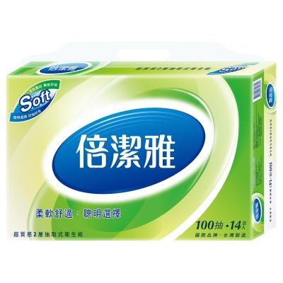 倍潔雅 超質感抽取式衛生紙100抽14包6袋x2箱