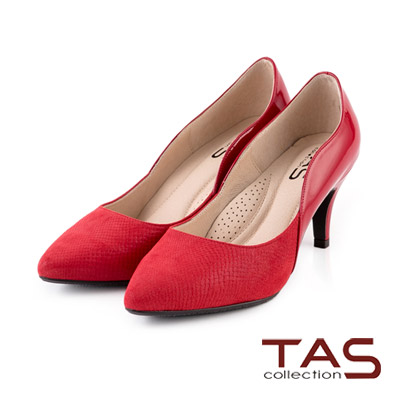 TAS-波浪曲線層次拼接尖頭高跟鞋-魅力紅