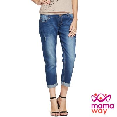 孕婦褲 牛仔褲 孕期Boyfriend刷破牛仔褲(共二色) Mamaway