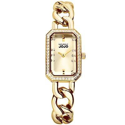 NATURALLY JOJO 雅緻經典方形時尚腕錶-金/ 18 mm