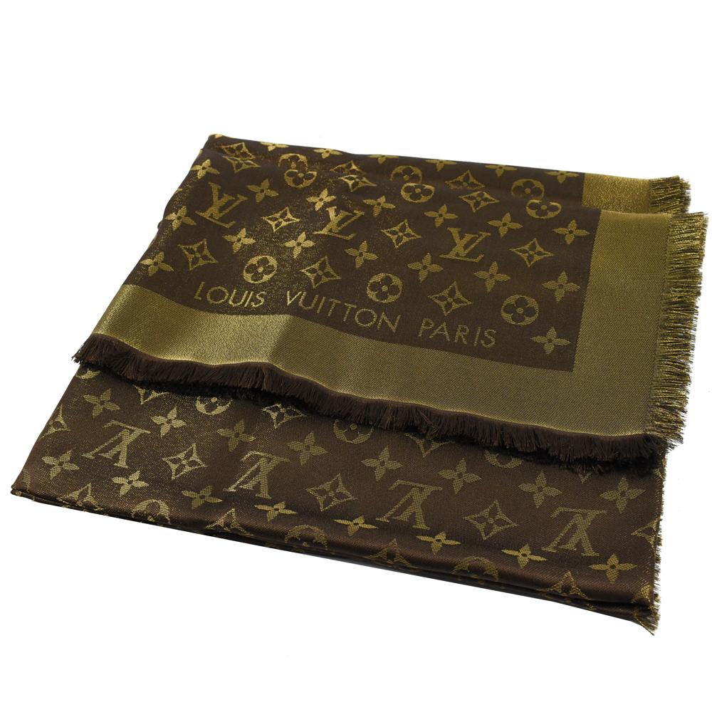 LV M75122 MONOGRAM Shine 微亮花紋大方巾圍巾(棕色)
