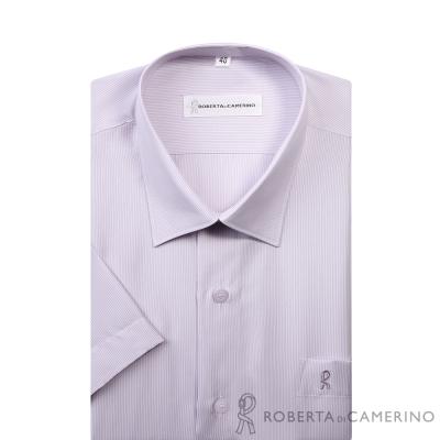 ROBERTA諾貝達 台灣製 燦爛迷人 細條紋短袖襯衫 淺紫